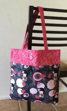 Reusable shopping bag, reusable bag lined, reusable grocery bag, market tote, pink charcoal oriental, pink bag, oriental bag
