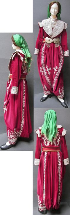 Traditional bridal/festive costume, from the Seyitgazi district (prov. Eskişehir). A remainder of the so-called 'Bahriye'-style (= 'Navy'), which was popular in Istanbul in the early 20th century.   Silver thread embroidery on velvet.  The ensemble was made in the early 1990s; the 'tokalı kemer' (belt) is older: c. 1925.  (Kavak Folklor Ekibi&Costume Collection-Antwerpen/Belgium).