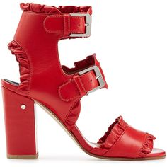 Laurence Dacade Ruffled Leather Sandals (35.800 RUB) ❤ liked on Polyvore featuring shoes, sandals, heels, red, block heel shoes, leather strap sandals, red heeled sandals, leather heeled sandals and red leather sandals