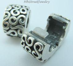 Set of 2 Pandora Bead Charm Sterling Silver 925 S Clip 790338 #Pandora #European