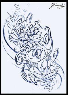 floral tattoo design sketch by ~thirteen7s on deviantART
