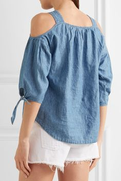 Blue linen and cotton-blend chambray  Slips on  54% linen, 46% cotton Machine wash