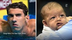 It's Michael phelps and his baby! No wonder where he gets it from