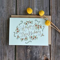 Floral Birthday Card Happy Birthday Card Card by ChampaignPaper