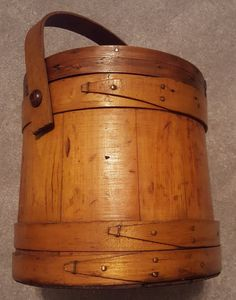 Beautiful Primitive 1800s Wood Firkin - sugar bucket with peg handle and lid by CnWsTexasTreasures on Etsy
