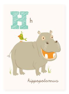 H is for Hippo 5x7 art print by SeaUrchinStudio on Etsy