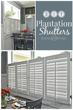 Plantation Shutters She transforms thrift store doors into planation shutters! She transforms thrift store doors into planation shutters! Cafe Shutters, Indoor Shutters, Interior Window Shutters, Interior Windows, Kitchen Shutters, Diy Shutters, Kitchen Windows, Interior Paint, Windows