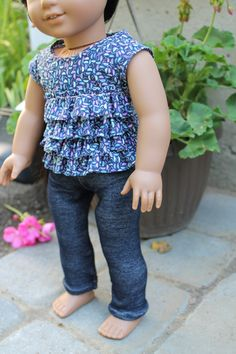 american girl doll clothes ruffle top and denim by HopscotchSundae, $16.00