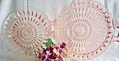 2 Pink Windsor Diamond  Depression Glass Dinner Plate & Handled Platter Jeannette 1930's2 by TreasureCoveAlly on Etsy