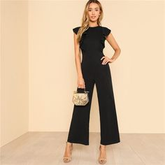 Sleeveless Black Ruffle Jumpsuit with Wide Pants Black Jumper Outfit, White Romper Outfit, Black Jumpsuit Outfit, Jumpsuit Dressy, Ruffle Jumpsuit, Summer Jumpsuit, Dress Black, Baby Doll Branco, Rompers Women