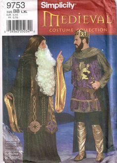 Mens Medieval King Arthur and Merlin Wizard Simplicity 9753 Halloween Costume Sewing Pattern by PeoplePackages