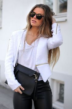 Just a Pretty Style: Leather pants with beautiful white blazer