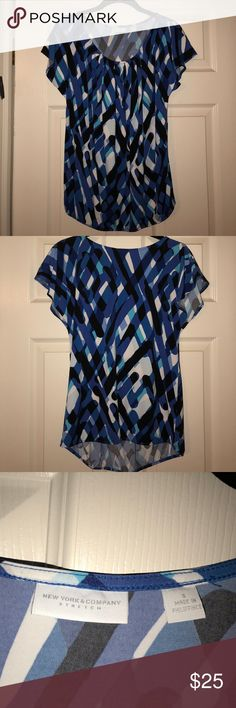 New York & Co Blue Top Size Small NY&Co blue, black, and white top in a size small that can be dressed up or down depending on how you wear it! Has been lightly used, washed, and is in great condition! Offers are considered. New York & Company Tops