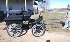 Frontier horse drawn Marathon wagonette carriage Black and silver with canopy