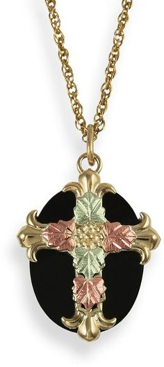 Black hills gold tri-tone onyx leaf cross pendant