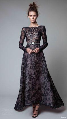 berta rtw fall 2017 (17 20) long sleeves jewel neck a line embellished evening dress black mv