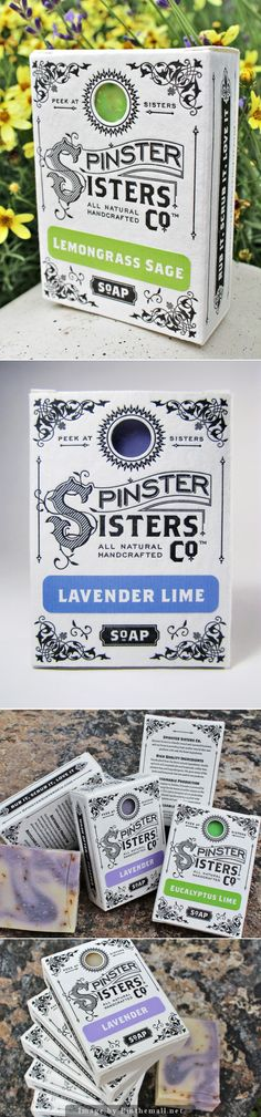 Inspired by letterpress but obviously not letterpress. Spinster Sister Co. Soap Bar designed by Andrew Cruz Vintage Packaging, Tea Packaging, Food Packaging Design, Pretty Packaging, Packaging Design Inspiration, Brand Packaging, Graphic Design Inspiration, Branding Design, Soap Packing