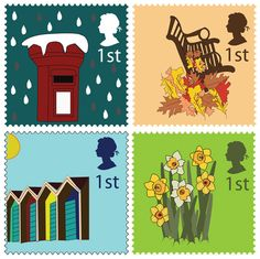 Postage stamps on British weather by Sarah Milligan