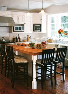 Kitchen Island Dining Table Combo With Butcher Block Top