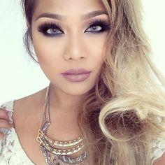 Neutral mauve lip, gorgeous eyes