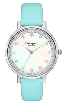 This mint Kate Spade watch is everything! Sparkling crystals mark the hours and ring the mother-of-pearl dial of a polished round watch set on a smooth leather strap. Such a great Nordstrom Anniversary Sale find!