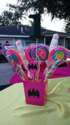 Batgirl birthday party centerpiece
