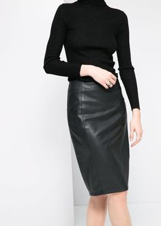leather pencil skirt | cashmere turtleneck