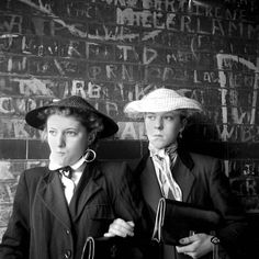 January 1955 The last of the Teddy Girls Pat Wiles and Iris Thornton, aged 17 from Plaistow.
