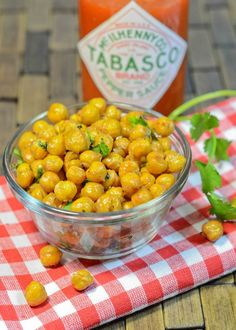 Crunchy Roasted Chickpeas Toss w/oil & spices to taste. Cook in single layer @ 400*F for 40 min, stirring every 10 min.