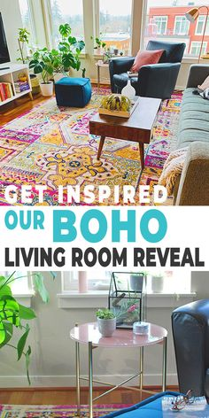Check out our Living room reveal (with a little help from furniture!) and get some great bohemian decor ideas! Decorating Small Spaces, Decorating On A Budget, Cheap Home Decor, Diy Home Decor, Boho Living Room, Living Rooms, Diy Home Repair, Selling Furniture, Diy Home Improvement