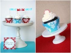 Free Printable Cupcake Flags, Wrapper Template, and Damask Cupcake Wrapper Paper