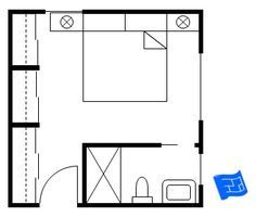 For a more compact design try a master bedroom floor plan with a corner bathroom and wardrobe wall with sliding doors.Click through to the site to read more on master bedroom floor plan design. Master Bedroom Addition, Master Bedroom Plans, Small Master Bedroom, Bedroom Floor Plans, Bedroom Addition Plans, Upstairs Bedroom, Master Suite Layout, Master Suite Floor Plan, Master Plan