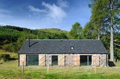 Copyright © Rural Design Ltd. Larch Cladding, Stone Cladding, Log Home Plans, Barn Plans, Metal Building Homes, Building A House, Highlands, Scandinavian Architecture, Stone Cottages