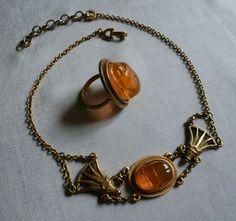 Christian Dior Egyptian Design Scarab Necklace Ring | eBay