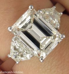 RESERVED... GIA 2.76ct Estate Vintage Emerald Cut by DiamondViolet
