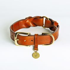 Dog Collar Hyde Park Braided Leather in Cognac ~ Genuine cowhide leather with fine hand-braided details ~ Stunning dog collar for your best friend   Cloud 7