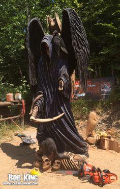 The Grim Reaper-Mulda, Germany-Carved by Sculptor Bob King www.chainsawking.com, www.facebook.com/chainsawking, Washington State
