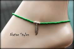 Items similar to Green Pow Wow Ankle Bracelet~Seed Beaded Anklet Green~Native Indian Style~ Bohemian Style Green Glass Beads~Indian Festival Feather Charm on Etsy Silver Jewellery Indian, Silver Jewelry, Modern Jewelry, Unique Jewelry, Ankle Jewelry, Beaded Anklets, Anklet Bracelet, Native Indian, Bare Foot Sandals