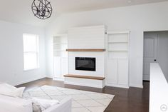 Fireplace Feature Wall, Fireplace Tv Wall, Build A Fireplace, Wooden Fireplace, Fireplace Bookshelves, Fireplace Built Ins, Shiplap Fireplace, Small Fireplace, Bedroom Fireplace