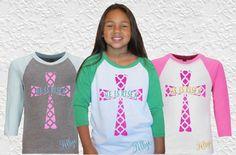 Girls Jesus Monogram Easter Shirt|He is Risen Baseball Raglan Kids Shirt|| Girls Easter Shirt with Name by GavinsAllyeDesigns on Etsy