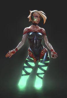 Xbox One Girl, Gui Guimaraes on ArtStation at https://www.artstation.com/artwork/xbox-one-girl