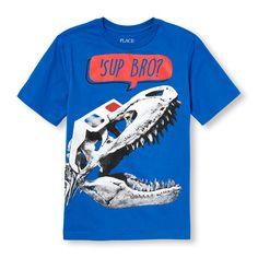 Boys Short Sleeve 'Sup Bro?' 3D Dino Graphic Tee