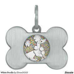 White Poodle Pet ID Tag