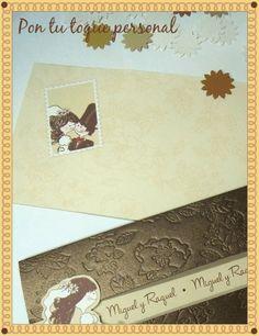 Invitación de boda divertida: el novio a la fuga. Detalle del sobre.