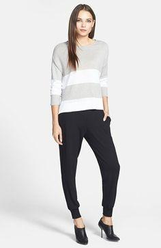 Eileen Fisher Bateau Neck Linen Top & Cuffed Jersey Pants | Nordstrom