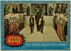 1977 Topps Star Wars Card Blue Series #54 The victors receive their reward