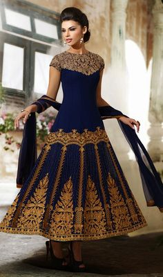 Navy Blue Embroidered Viscose Anarkali Suit Set the floor ablaze wearing this navy blue embroidered viscose Anarkali suit. The lovely lace, moti, resham and stones work across suit is awe-inspiring. Indian Suits, Indian Attire, Indian Dresses, Indian Wear, Punjabi Suits, Indian Style, Indian Ethnic, Anarkali Dress, Anarkali Suits