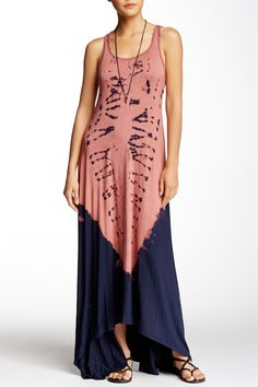 Racerback Tie Dye Maxi Dress by Go Couture on @HauteLook