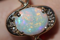 Vintage Custom 14k Yellow Gold Diamond Australian Opal Modernist Ring Size 8 | eBay
