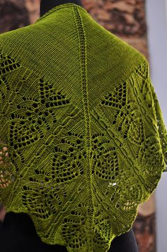 Frangipani by Kitman Figueroa bottom up quick knit random placement of beads on stockinette $5 or 10 pattern eBook of Kitman's lovely shawl patterns for $30